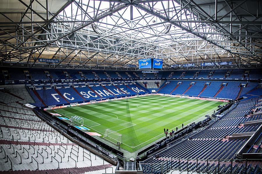 Möbel & Wohnen Glasbild Schalke Arena 02 blau Fanshop S04 Veltins-Arena Fussball Bundesliga ...